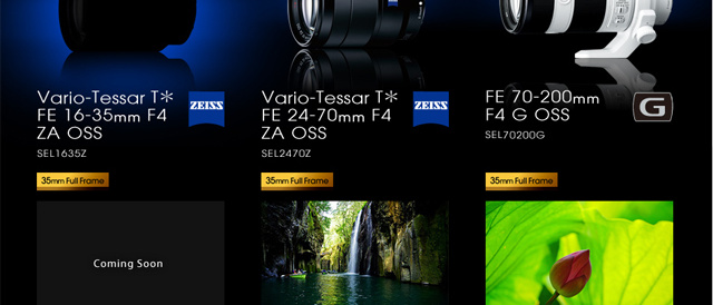 """α""FEレンズ、Vario-Tessar T* FE 16-35mm F4 ZA OSS 「SEL1635Z」がComing Soon。"
