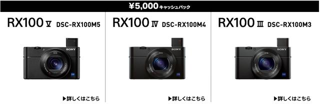 デジタルスチルカメラRX100Ⅲ/Ⅳ/Vを購入すると5,000円キャッシュ ...