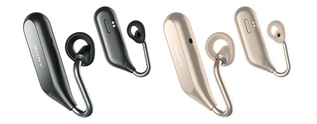 周りの音が自然に聞こえて音楽も会話もできる左右独立型ワイヤレスヘッドセット「Xperia Ear Duo」。ボイスアシスタントにGoogle、Siri、Clovaも使えてハンズフリーの快適さ拡大。