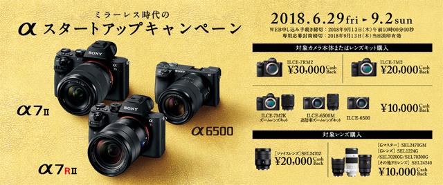 デジタル一眼カメラ α7RII / α7II / α6500や、6つのレンズを対象にキャッシュバック!「ミラーレス時代のαスタートアップキャンペーン」