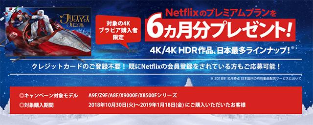 4K BRAVIA(A9F/Z9F/A8F/X9000F/X8500Fシリーズ)購入者限定、「Netflixのプレミアムプラン」を6ヵ月分プレゼントのキャンペーン!2018年10月30日(火)から2019年1月18日(月)までの期間限定