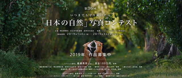 朝日新聞社主催、ソニーマーケティング株式会社が協賛する「第36回 いつまでも守り続けたい「日本の自然」写真コンテスト」、2019年作品を募集中。
