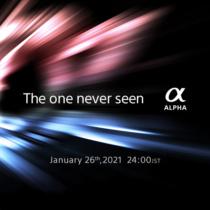 """""""The one never seen α"""" デジタル一眼カメラαのティーザー広告。2021年1月26日(火)24時に、「未だ見たことのないα」を全世界同時に発表。"""