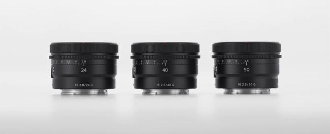 海外で小型軽量なフルサイズEマウントレンズ FE 24mm F2.8 G SEL24F28G、FE 40mm F2.5 G SEL40F25G、FE 50mm F2.5 G SEL50F25G を発表。欧州で2021年4月、北米で2021年5月発売予定。(追記:国内発売決定)